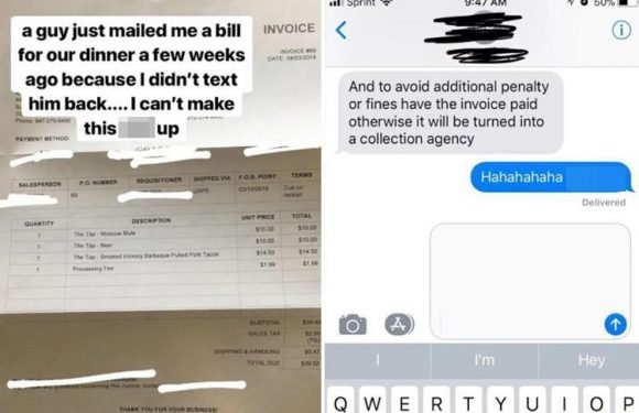 Woman reveals invoice she was sent by a date for £28 that included admin fee after she declined to meet him a second time