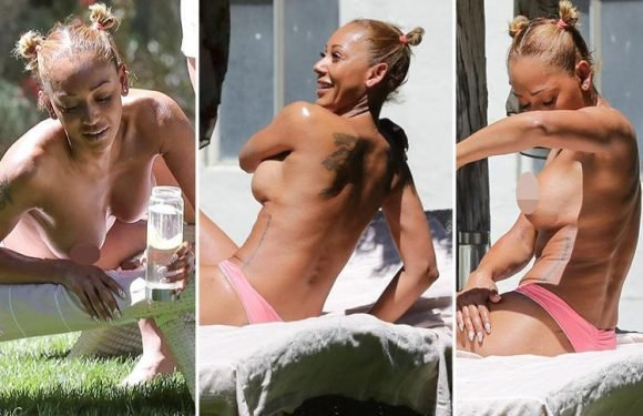 Mel B sunbathes topless as she laps up the sunshine on the last day of her holiday with BFF Gary