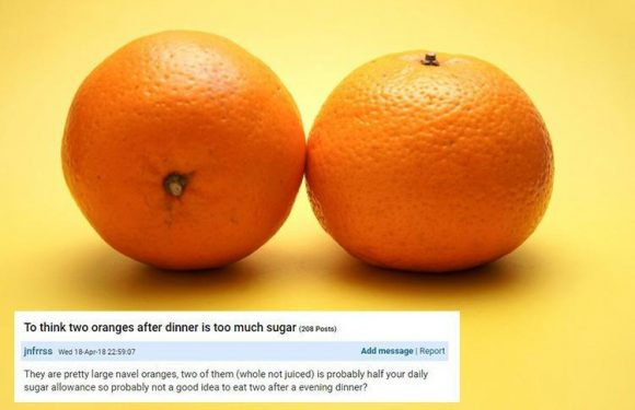 Mumsnet users mock mother for asking if two large oranges is 'too much sugar'