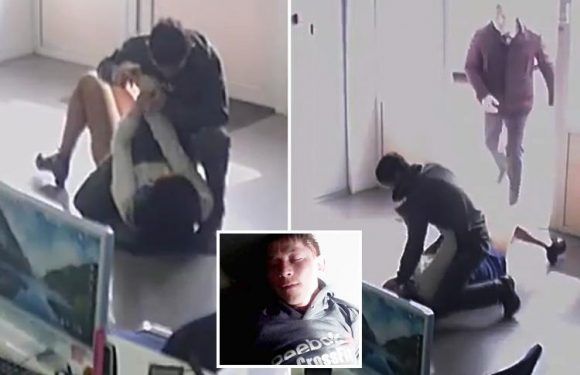 CCTV footage shows moment knifeman 'attempts to rape' shop worker in Russia before hero bystander steps in and hogties him with adhesive tape