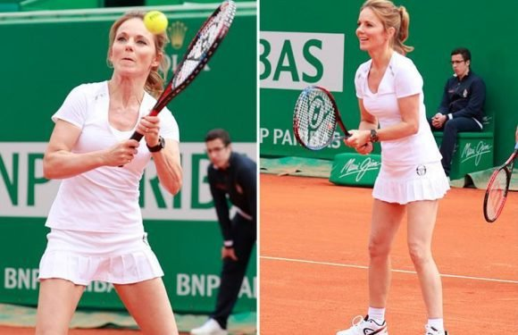 Geri Horner proves she's a smash hit on the tennis court as she takes part in charity game in Monte Carlo