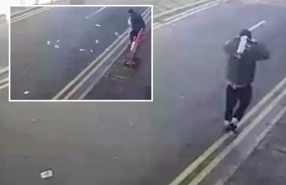 Hilarious moment bungling robber grasps for wads of stolen cash after it blows away in gust of wind