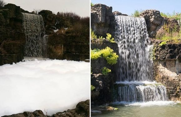 Pranksters turn park fountain into giant bubble bath sparking fury over fears for wildlife