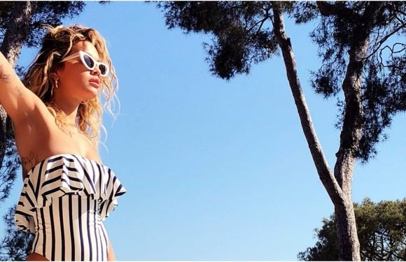 Rita Ora's Sexy Striped Swimsuit Cuts So High — Well, Hello, Hip Tattoo!