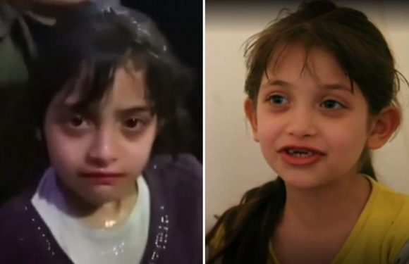 Syria 'chemical attack girl' seen in hospital video gives horrifying account of moment barrel bomb fell on her family's house