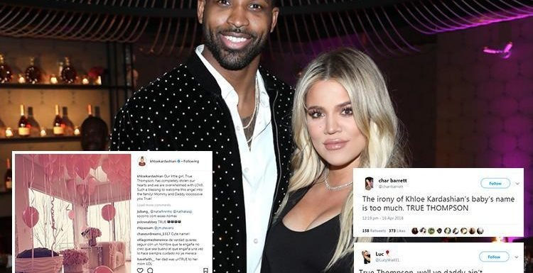 Khloe Kardashian's fans mock 'cheat' Tristan Thompson with cruel jokes after they name their daughter True