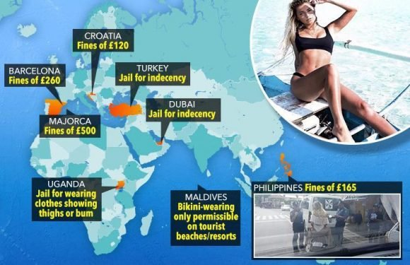 The popular tourist hotspots where you could be fined or JAILED for wearing a bikini… and some of them may surprise you