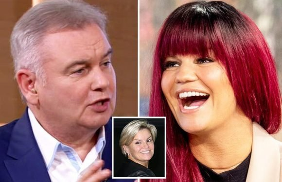 Kerry Katona wears a maroon wig for This Morning appearance as Eamonn Holmes brands her a 'pain in the arse' as she appears to discuss bipolar