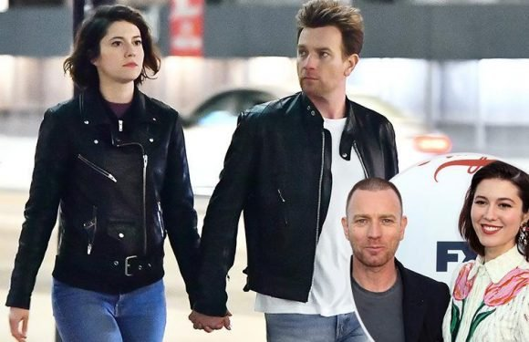 Ewan McGregor is back with girlfriend Mary Elizabeth Winstead as they're pictured holding hands on a movie set