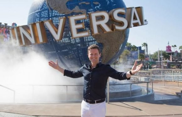 Declan Donnelly relaxes on a fun day out at a waterpark as he prepares to host Saturday Night Takeaway final alone