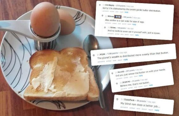Bloke slated after sharing a picture of his egg and toast breakfast… but can YOU spot what's 'wrong' with it?