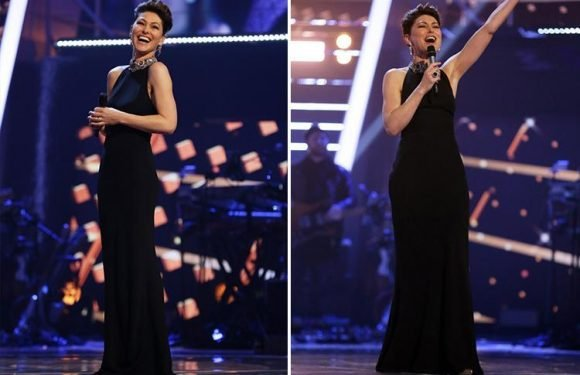 The Voice host Emma Willis steals the show in a 'breathtaking' ballgown as Ruti, Lauren, Donel and Belle Voci make it through to the final