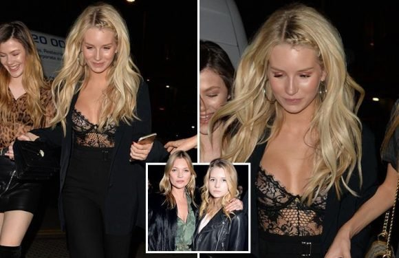 Model Lottie Moss, 20, wows in black, lace lingerie for night out in London