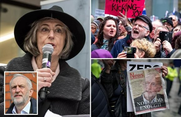 Hundreds join Maureen Lipman for demo outside Labour HQ as actress brands Jeremy Corbyn an 'anti-Semite at the head of the Labour Party'