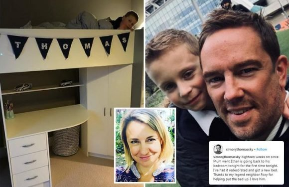 Simon Thomas reveals son is sleeping in his own bed again for first time since wife died 18 weeks ago after first Easter without her