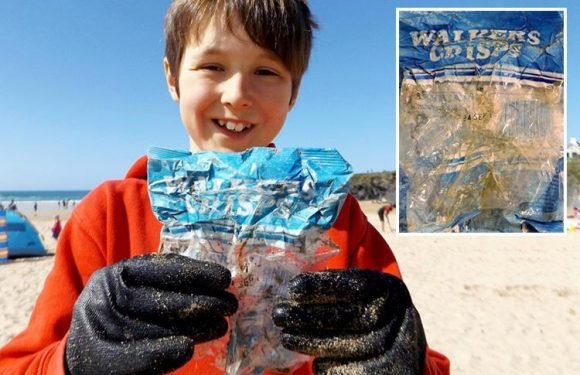 This 30-year-old Walkers crisp packet shows how destructive plastic is to oceans