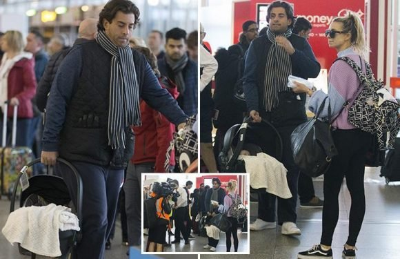 James Argent carries Ferne McCann's daughter Sunday as they jet off to film Baby Diaries-style show