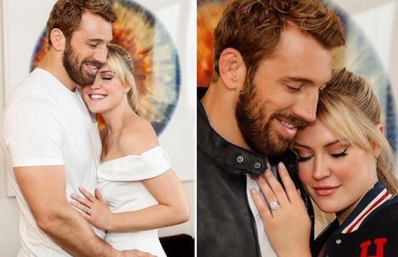Camilla Kerslake shows off huge diamond ring as she cuddles up to fiance Chris Robshaw in official engagement shoot