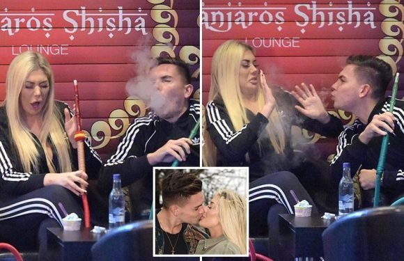 Geordie Shore lovebirds Sam Gowland and Chloe Ferry can't stop coughing as they struggle to smoke a Shisha pipe