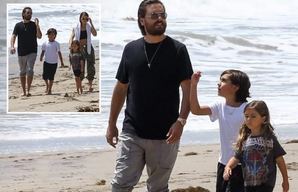 Scott Disick takes a stroll on the beach with his girlfriend Sofia Richie, 19, and his children