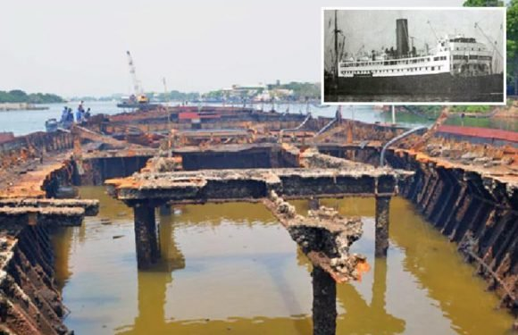Massive British ship sunk during World War II raised from the bottom of a harbour in Sri Lanka 75 years after being bombed by the Japanese