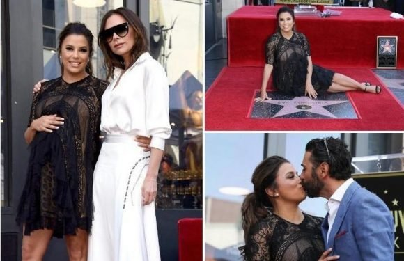 Victoria Beckham supports heavily pregnant Eva Longoria as she is honoured with a star on The Hollywood Walk of Fame
