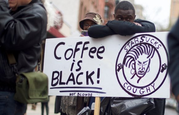 Protesters swarm Starbucks where two black men were arrested
