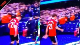 Manchester United star Ander Herrera spits on Man City crest at half-time of derby at Etihad