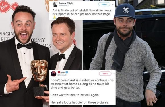 Ant McPartlin's fans urge him to take 'all the time he needs' after he's seen out of rehab for the first time