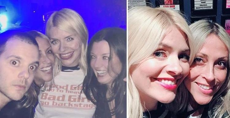 Holly Willoughby wears 'bad girls go backstage' t-shirt as she hangs out with Nicole Appleton and Mike Skinner as The Streets makes a comeback