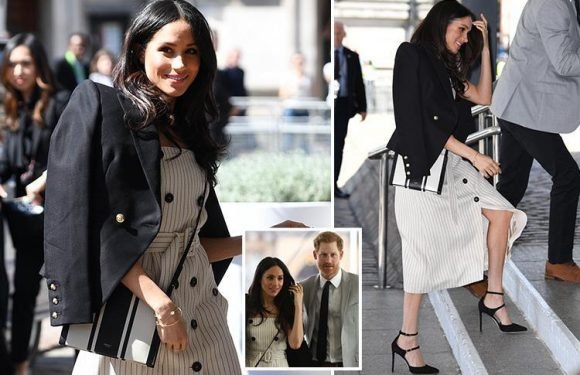 Meghan Markle dazzles in £1,450 minidress as she and Prince Harry both head out in the sun at Commonwealth event in London
