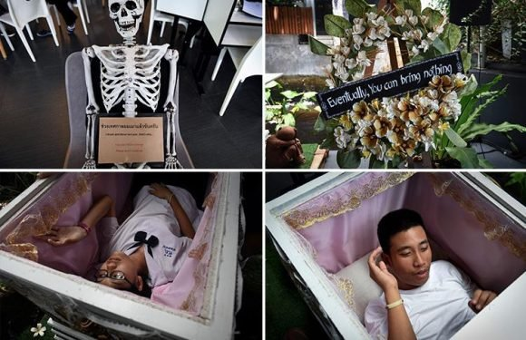 Inside Bangkok's morbid 'death cafe' where customers can relax in a coffin and order drinks called 'death' and 'painful'