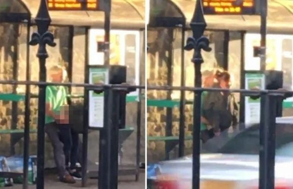 Randy couple caught romping at BUS STOP in front of horrified onlookers are slammed for outraging public decency