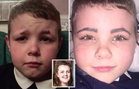 Mum teaches her nine-year-old son a lesson after he shaves off his eyebrows with razor in bathroom prank