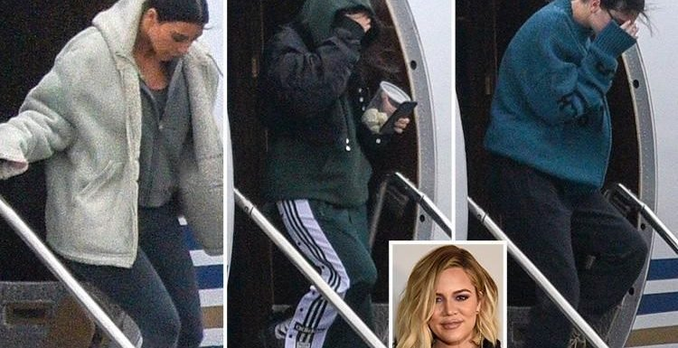 Kim Kardashian and her sisters Kourtney and Kendall jet into Cleveland to visit Khloe and baby True