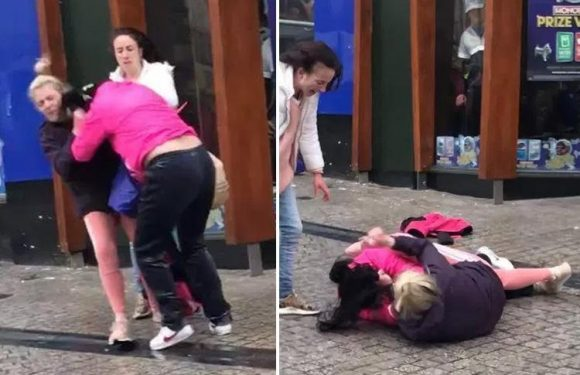 Moment two women pull each other's hair and hurl punches in brawl outside McDonald's