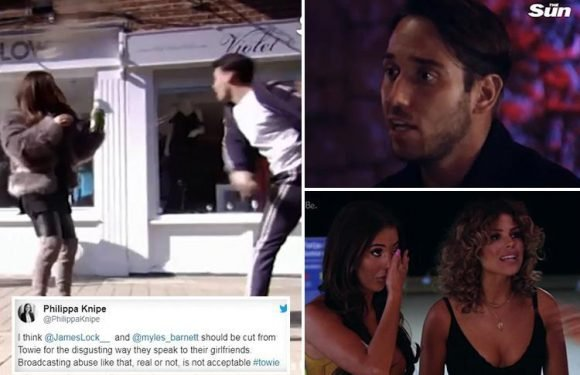 Towie fans call for James Lock and Myles Barnett to be sacked from show after 'abusive' rows with girlfriends Yazmin Oukhellou and Courtney Green