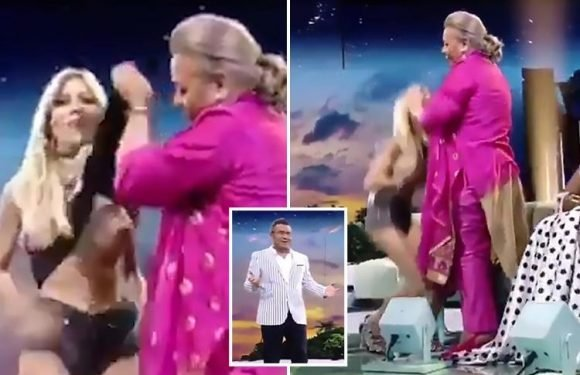 Shocking moment reality star's boobs are exposed live on TV after guest rips her top off during episode of Survivor Spain