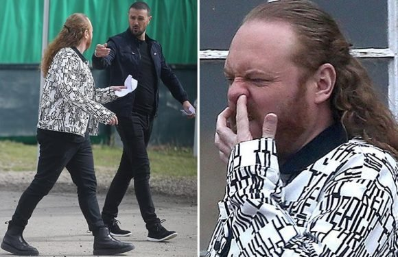 Paddy McGuinness shouts at Keith Lemon for picking his nose during a filming break in The Keith and Paddy Picture Show