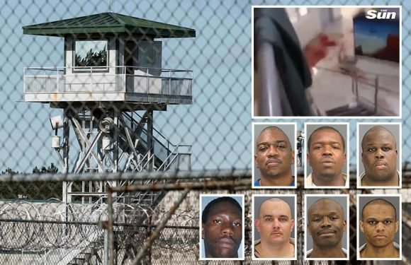 South Carolina prison riot video shows bodies on the blood-spattered floor after seven killed in brawl