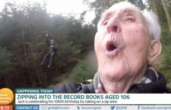 Good Morning Britain viewers are loving the record-breaking 106-year-old taking on a zipwire