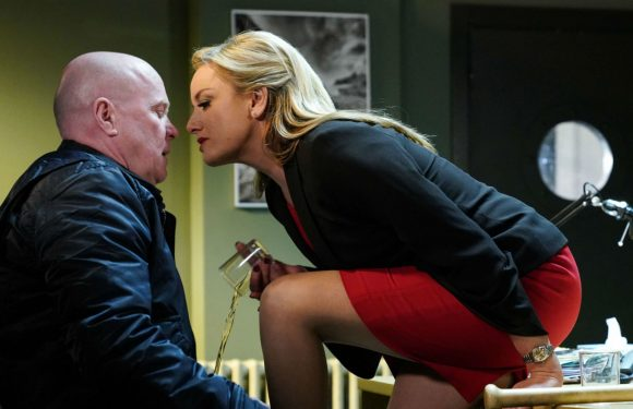 New EastEnders pictures show Mel Owen seducing Phil Mitchell in a bid to protect Hunter