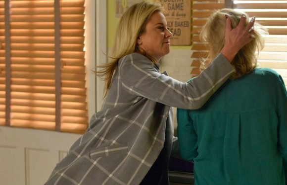 EastEnders' Mel Owen turns violent with Michelle Fowler in a furious row over Hunter
