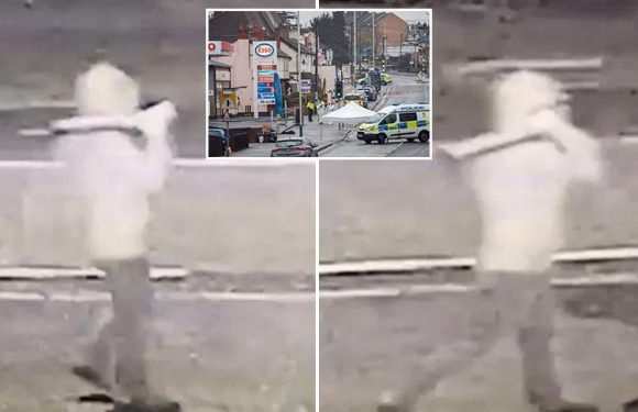Romford gunman seen swaggering down street with 'shotgun' over shoulder in CCTV moments before being shot dead by police at East London petrol station
