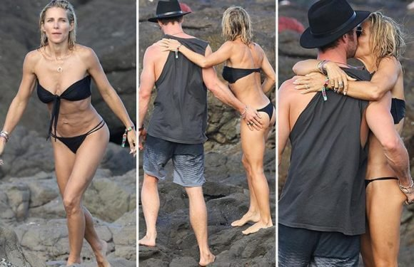 Chris Hemsworth can't keep his hands off bikini-clad wife Elsa Pataky during a day at the beach with Matt Damon and family