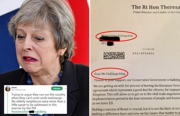OAP couple receive letter from Theresa May addressed to 'Mr Youmustbe F***ingjoking'