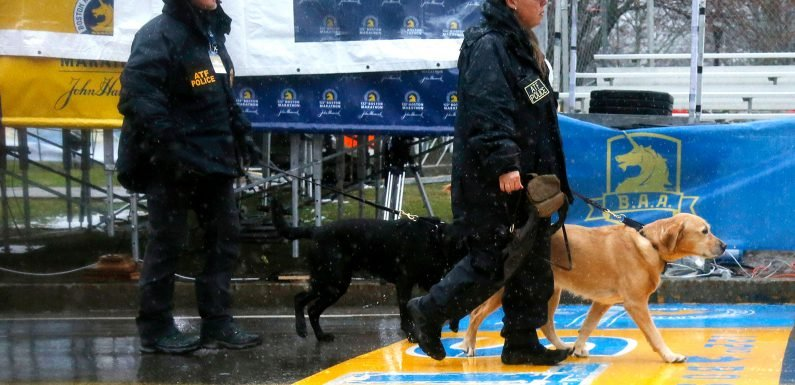 The Boston Marathon is a soggy mess