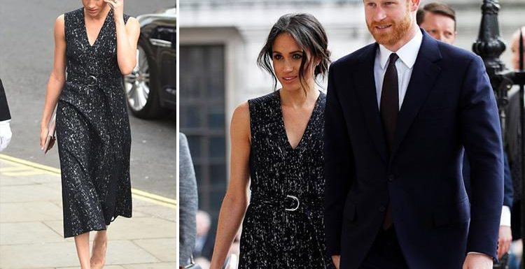 Meghan Markle holds Prince Harry's hand in sleeveless Hugo Boss dress and nude heels after Kate welcomes baby boy