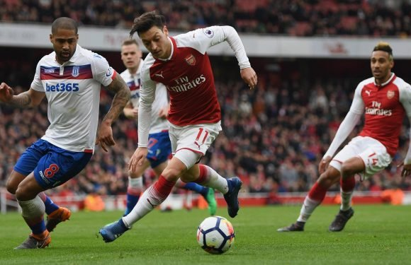 Mesut Ozil is caught appearing to tell Hector Bellerin he talks too much in heated exchange against Stoke.. but his Arsenal team-mate cools row afterwards by tweeting photo with amusing message