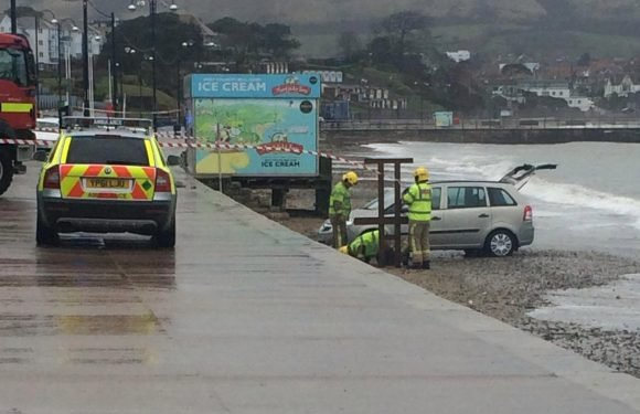 Jogger seriously injured after car 'swerves off seaside promenade and crashes onto beach'